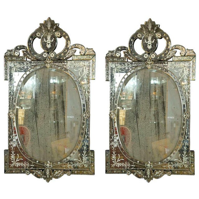 Venetian Style 1970s Etched Glass Mirrors - A Pair - Image 9 of 9
