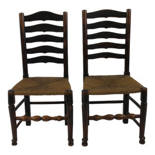 English Period Ladder Back Side Chairs- A Pair