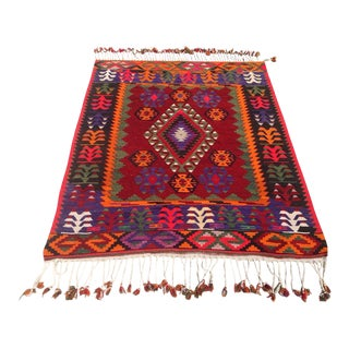 Vintage Turkish Kilim Rug - 3′11″ × 4′11″