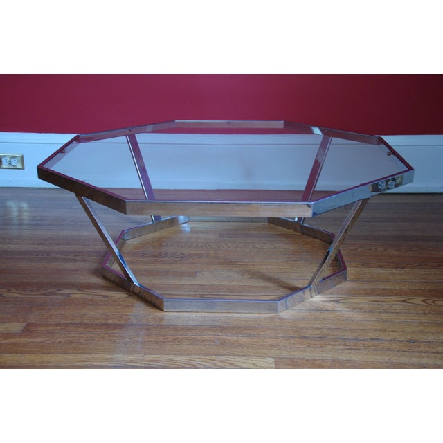 Image of Milo Baughman Octagonal Chrome & Glass Table