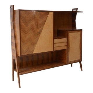 Italian Modern Walnut, Birch and Mahogany Cabinet or Bookcase, Arturo Reverso