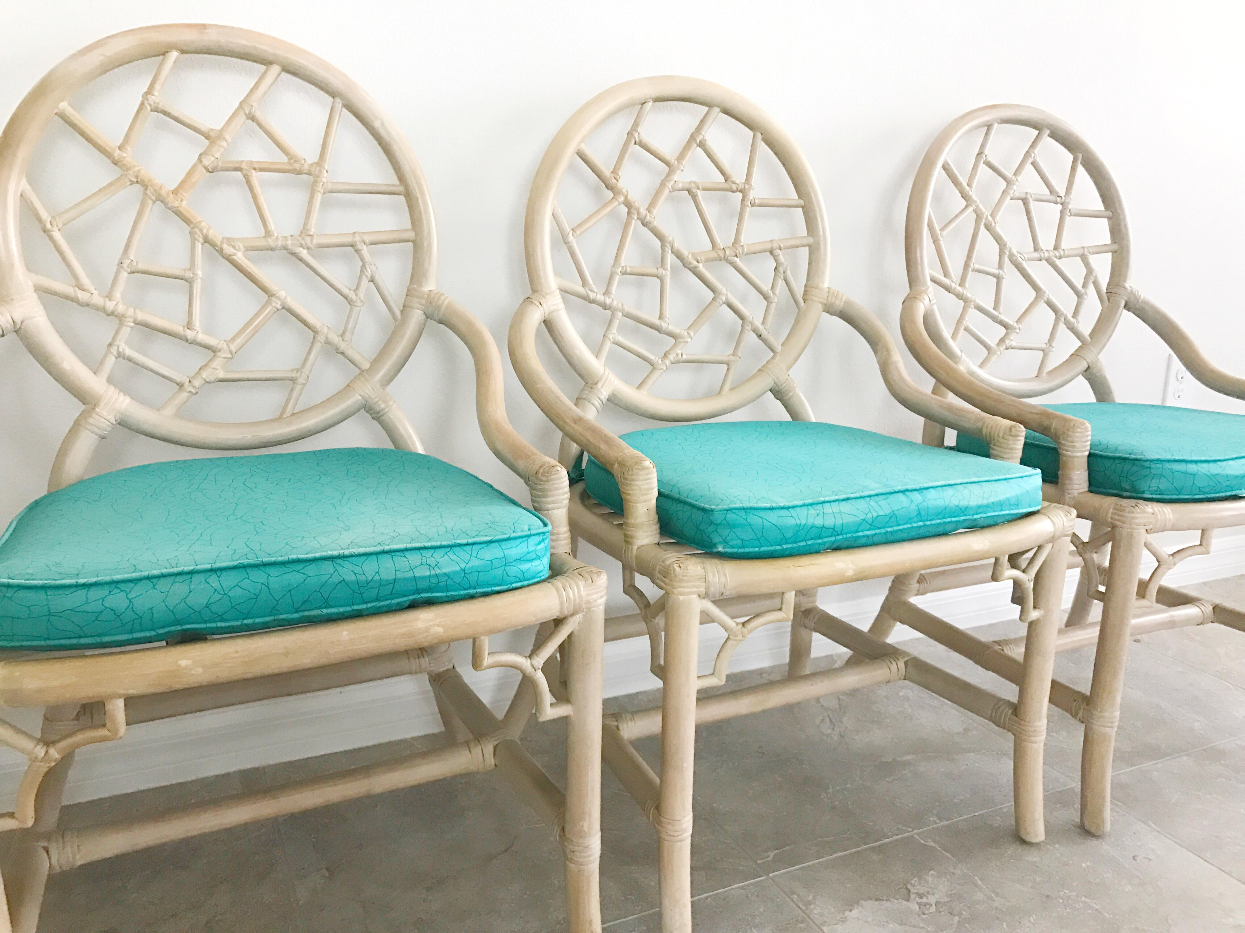 Vintage McGuire Cracked Ice Rattan Chairs   Set Of 4   Image 3 Of 7
