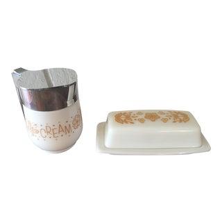Pyrex Butterfly Gold Creamer & Butter Dish