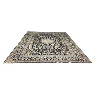 Persian Kashan Blue Medallion Rug - 9′8″ × 12′5″