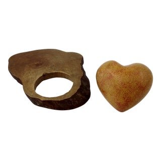 Hand Carved Stone & Wood Heart Paperweight Set