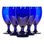 Image of Cobalt Glass Water Stems - Set of 8