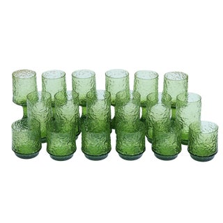 1970's Vintage Green Lenox Crystal Glasses - Set of 18