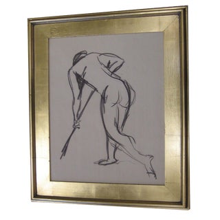 Vintage Charcoal Drawing of Sweeping Figure