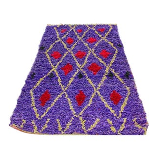 "Purple & Red Diamond Pattern Boucherouite Rug - 3'4"" X 6'5"""