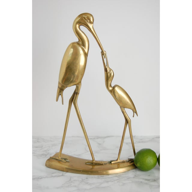 Large Vintage Brass Crane Statue - Image 4 of 9