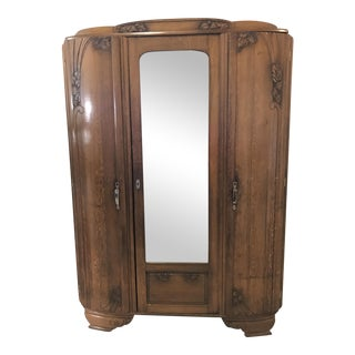 Arts & Crafts Oak & Mirrored Armoire
