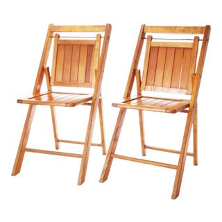 Vintage Rustic Farmhouse Wood Folding Chairs - A Pair