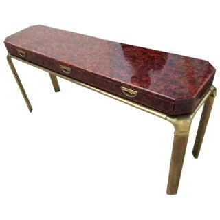John Widdicomb Brass & Lacquer Console Table
