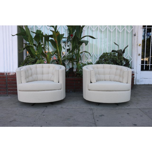 Milo Baughman Style Swivel Chairs - A Pair - Image 10 of 10