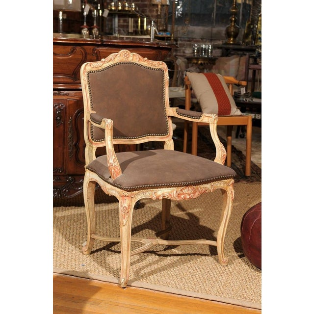 Louis XV Style Painted Bergere Chair - Image 2 of 7