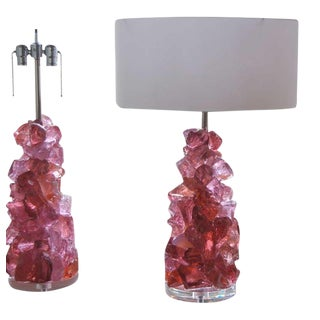 Rock Candy Glass Lamps in Orchid Rose