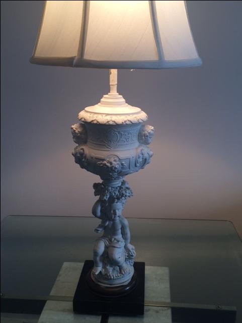Hollywood Regency Putti Lamp With Silk Shade : Chairish