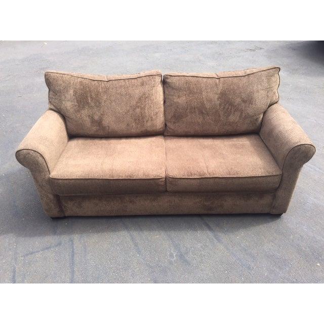 Brown and dark green sofa chairish for Dark green sectional sofa