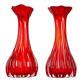Vintage Red Swirl Glass Vases - A Pair