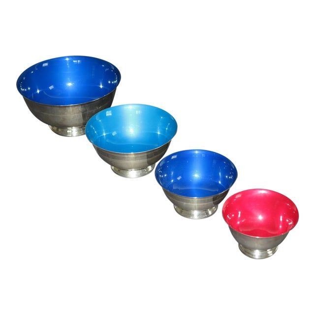 Reed & Barton Revere Silverplate Enamel Bowls - Set of 4 - Image 1 of 5