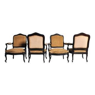 Set of 4 Napoleon III Arm Chairs