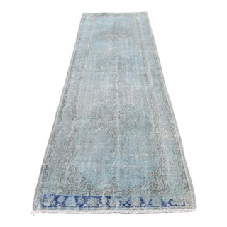 Vintage Pale Blue Wool Oushak Runner Rug - 3′1″ × 10′1″
