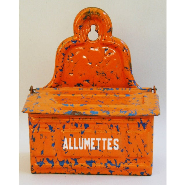 Image of 1940s French Enamel Allumettes Holder