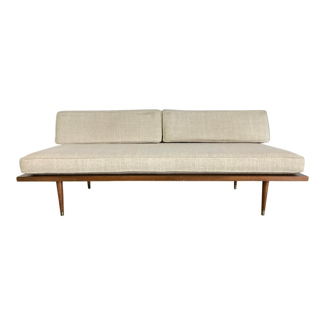 Mid century modern walnut platform sofa in the style of for Mid century daybed sofa