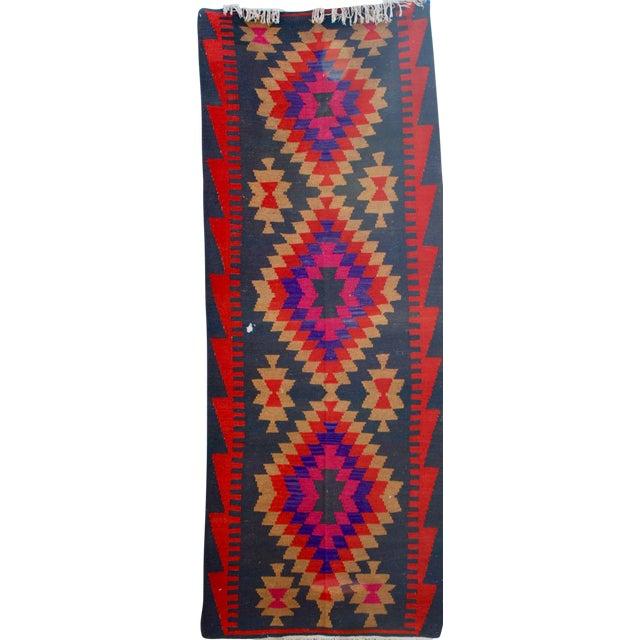 Vintage Handmade Persian Pink Kilim Rug - 3'10'' X 9'7 - Image 1 of 5