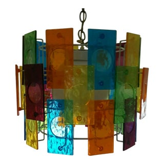 1960's Chandelier With Colored Lucite Panels