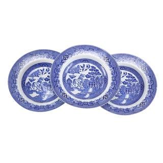 English Staffordshire Transferware Dinner Plates - Set of 3