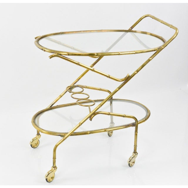 Vintage French Brass Bamboo Style Bar Cart - Image 2 of 6