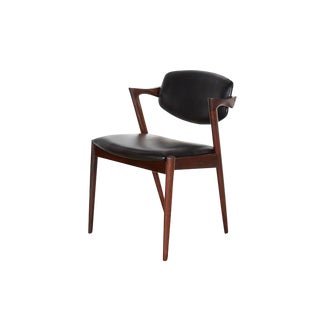 Kai Kristiansen Black Leather Dining Chairs - Set of 4