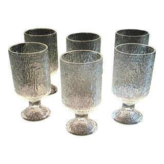 Vintage 1970s Indiana Textured Crystal Ice Pattern Water Goblets - Set of 6