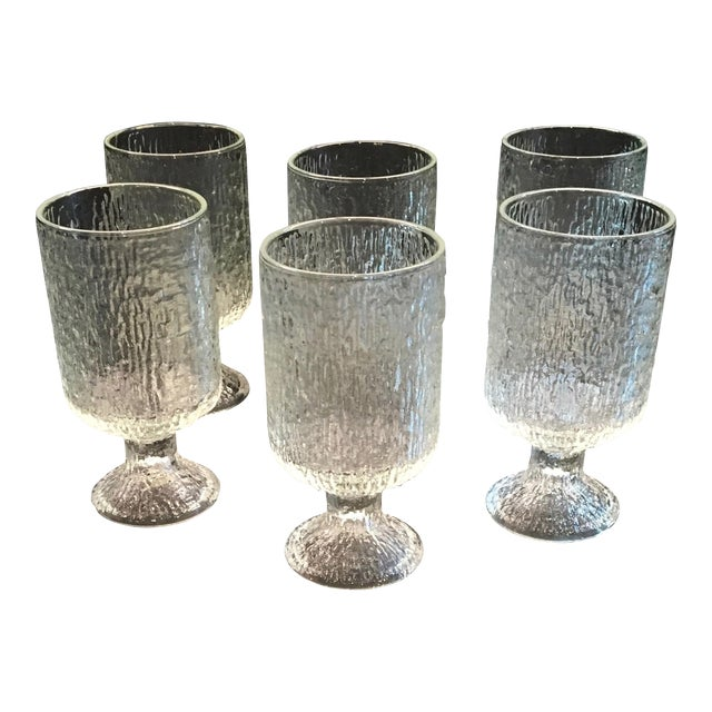 Vintage 1970s Indiana Textured Crystal Ice Pattern Water Goblets - Set of 6 - Image 1 of 6