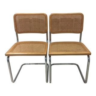 Vintage Breuer 'Cesca' Caned & Chrome Side Chairs - A Pair