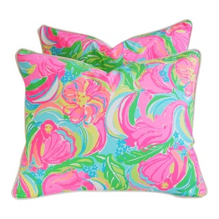 Summer Sale!!! Lilly Pulitzer-Inspired/Style Tropical Monkeys & Elephants Pillows - Pair