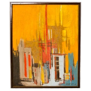 """1965 Abstract Oil Signed Kloszenski """"City Sunset"""""""