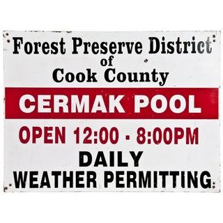 """Vintage Wood Sign """"Cermak Pool"""""""