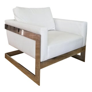Space M Design Embossed White Ostrich Armchair