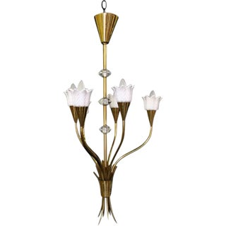 French Floral Bouquet Brass & Resin Chandelier