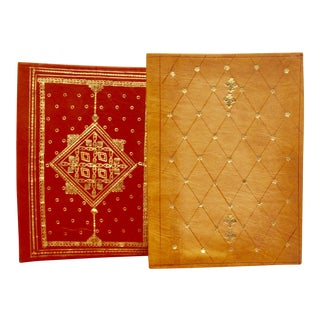 Gold Stamped Moroccan Leather Book Covers - A Pair
