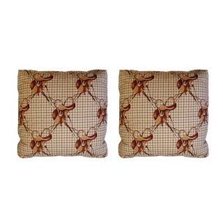Ralph Lauren Equestrian Saddles & Crops Tattersall Plaid Pillows - a Pair