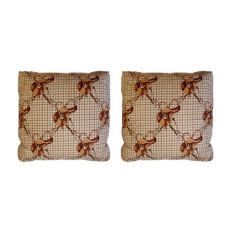 Ralph Lauren Equestrian Saddles & Crops Tattersall Plaid Pillows - a Pair
