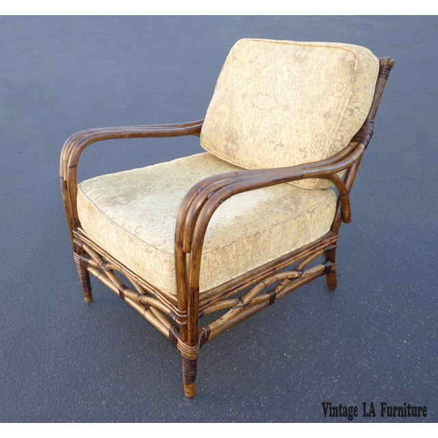 Vintage Rattan Accent Arm Chair - Image 2 of 11