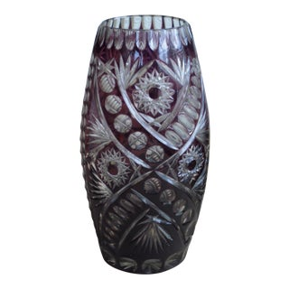 Bohemian Amethyst Cut to Clear Tall Vase