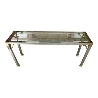 Mid Century Chrome and Glass Console / Sofa Table