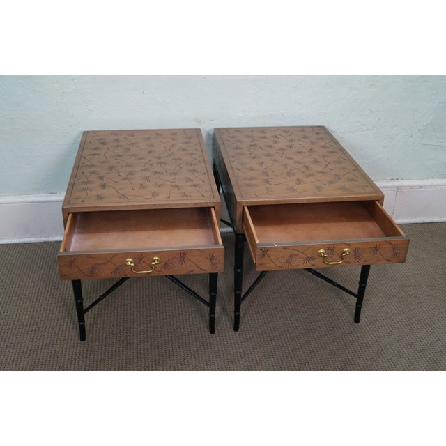 Kittinger Thistle Faux Bamboo End Tables - Pair - Image 2 of 10