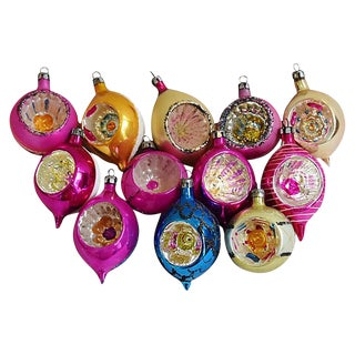 Fancy Indent Christmas Tree Ornaments w/Box - Set of 12