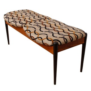 Vintage Danish Modern Teak Two-Seater Bench